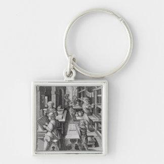 The Development of Printing, plate 5 from 'Nova Re Silver-Colored Square Key Ring