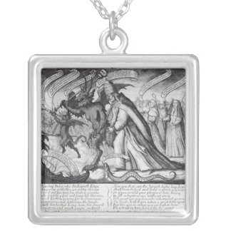 The Devil leading the Pope in Chains, 1680 Silver Plated Necklace
