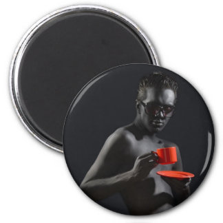 """The Devilish Saint"" 6 Cm Round Magnet"