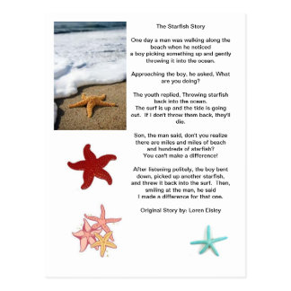 The difference of one, Starfish story. Postcards