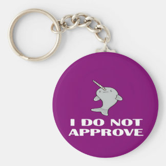 The disapproving Narwhal Basic Round Button Key Ring