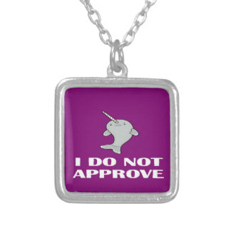 The disapproving Narwhal Square Pendant Necklace
