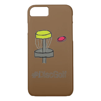 The #DiscGolf brown iPhone 7, 6S case disc golf
