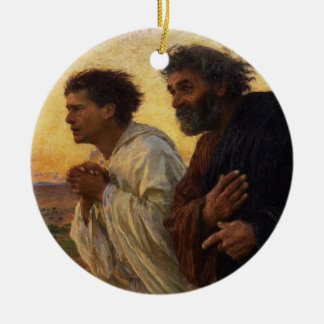 The Disciples Peter and John Running Christmas Ornament