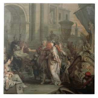 The Disembarkation of Cleopatra at Tarsus (oil on Tile
