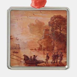 The Disembarkation of Warriors in a Port Christmas Ornament