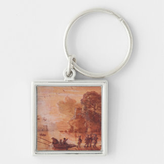 The Disembarkation of Warriors in a Port Silver-Colored Square Key Ring