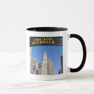 The distinctive design and clocktower of the mug