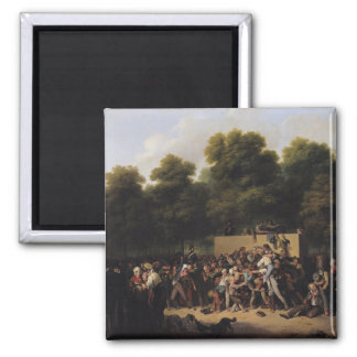 The Distribution of Food and Wine Square Magnet