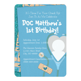 The Doc Is In Birthday Invitation - Blue