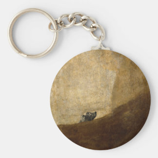 The Dog (Black Paintings) by Francisco Goya 1820 Basic Round Button Key Ring