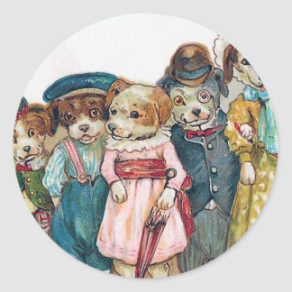 """""""The Dog Family"""" Vintage Classic Round Sticker"""