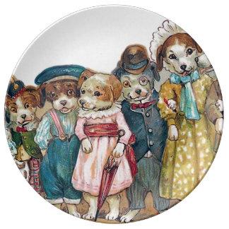 The Dog Family Vintage Illustration Porcelain Plates