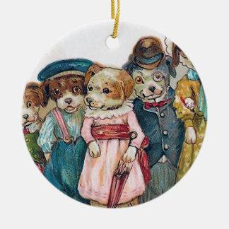 """The Dog Family"" Vintage Round Ceramic Decoration"