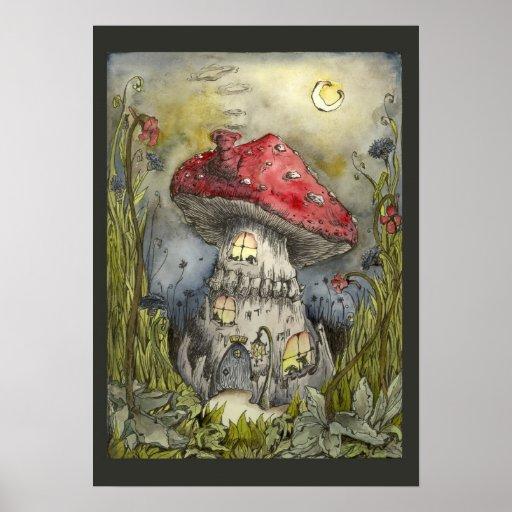 The Dog House Mushroom Poster