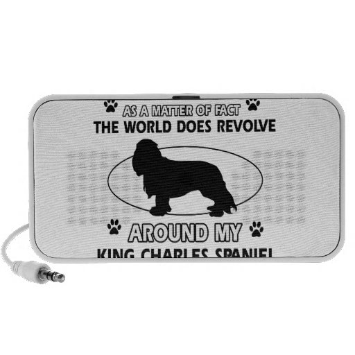 The dog revolves around my king charles spaniel travelling speakers