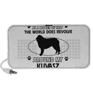 The dog revolves around my kuvasz travel speakers