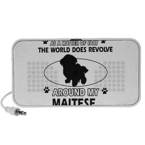 The dog revolves around my maltese iPhone speakers
