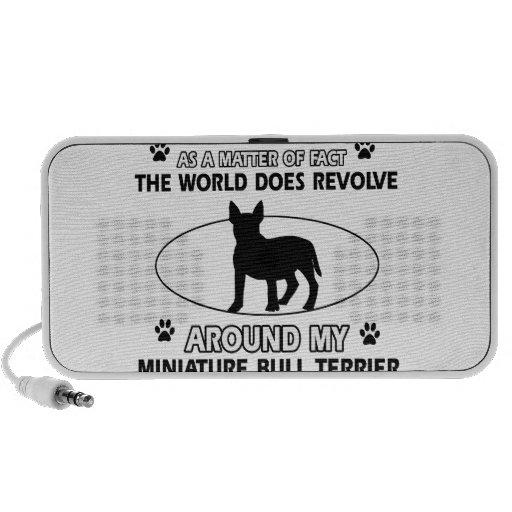 The dog revolves around my miniature bull terrier iPod speaker