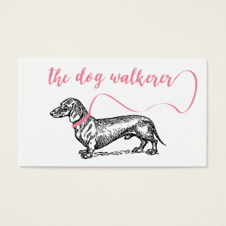 THE DOG WALKERER BUSINESS | DOG LOVER PINK BUSINESS CARD