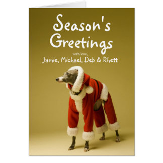 The dog wears Father Christmas's clothes 2 Card