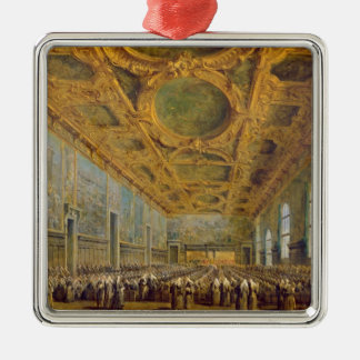 The Doge of Venice Thanking the Council Silver-Colored Square Decoration