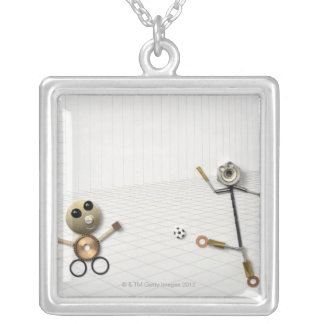 The doll of the handmade stuff which various 2 silver plated necklace