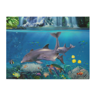 The Dolphin Family Wood Canvas