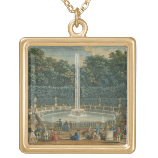 The Domes in the Garden at Versailles, pub. by Lau Gold Plated Necklace