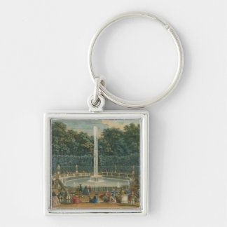 The Domes in the Garden at Versailles, pub. by Lau Silver-Colored Square Key Ring