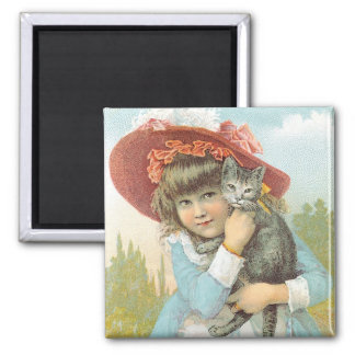 The Domestic SM Co. Girl with Grey Cat Square Magnet