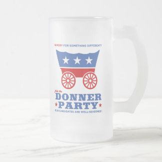 The Donner Party - hungry for something different? Frosted Glass Mug