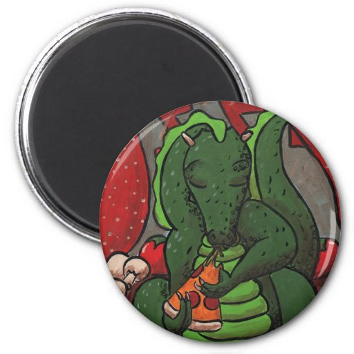 The Dragon and The Pizza 6 Cm Round Magnet