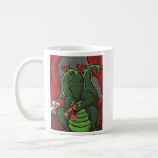 The Dragon and The Pizza Basic White Mug