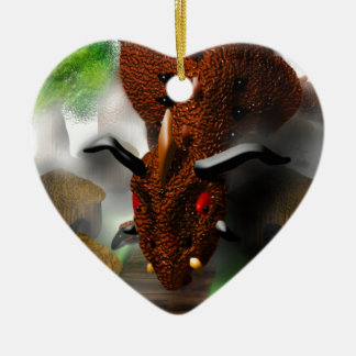 The Dragon in the Village Ceramic Heart Decoration