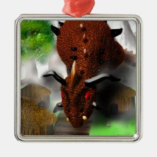 The Dragon in the Village Silver-Colored Square Decoration