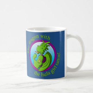 The dragon with the hula girl tattoo basic white mug