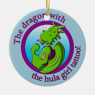 The dragon with the hula girl tattoo round ceramic decoration