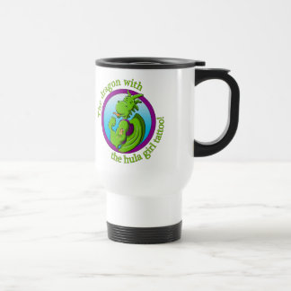 The dragon with the hula girl tattoo stainless steel travel mug