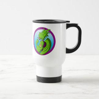The dragon with the hula girl tattoo travel mug