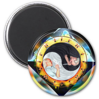 The Dramatic Dharma of Dueling Dualism Fridge Magnet