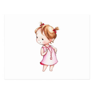 The Drawing of Little Girl in Red Beads Postcard