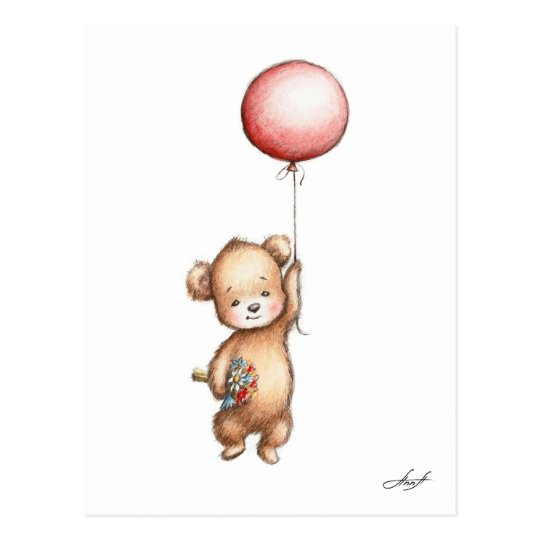 The Drawing of Teddy Bear with Red Balloon and Flo Postcard