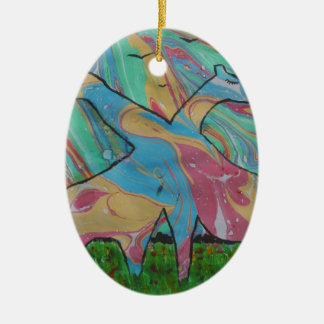 The Dreaming Giraffes Ceramic Oval Decoration