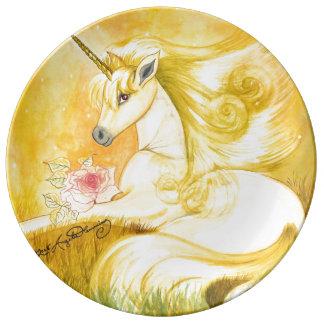 The Dreamy Golden Unicorn Porcelain Plate