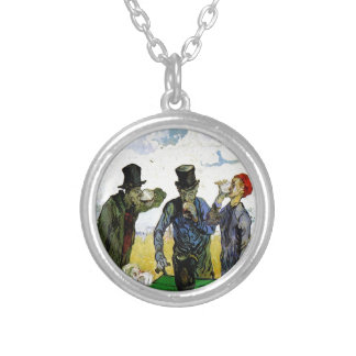 The Drinkers by Vincent van Gogh 1890 Round Pendant Necklace