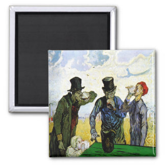 The Drinkers by Vincent van Gogh 1890 Square Magnet