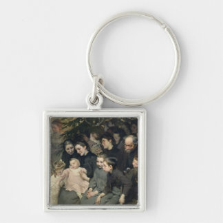 The Drop of Milk in Belleville Silver-Colored Square Key Ring