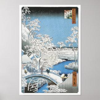 The Drum Bridge, Hiroshige, 1856-58 Poster