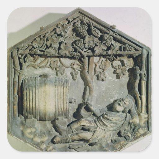 The Drunkenness of Noah, hexagonal decorative Stickers